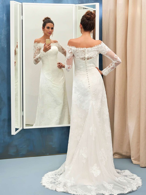 Sheath/Column Tulle Appliques Lace Sweep Train Long Sleeve Great Off-the-shoulder Wedding Dresses #PWD00022736