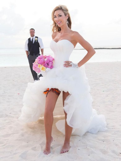 A-line Sweetheart Tulle with Pick-Ups Different Asymmetrical Wedding Dresses #PWD00022737