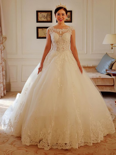 Ball Gown Scoop Neck Tulle Appliques Lace Chapel Train Sparkly Open Back Wedding Dresses #PWD00022738