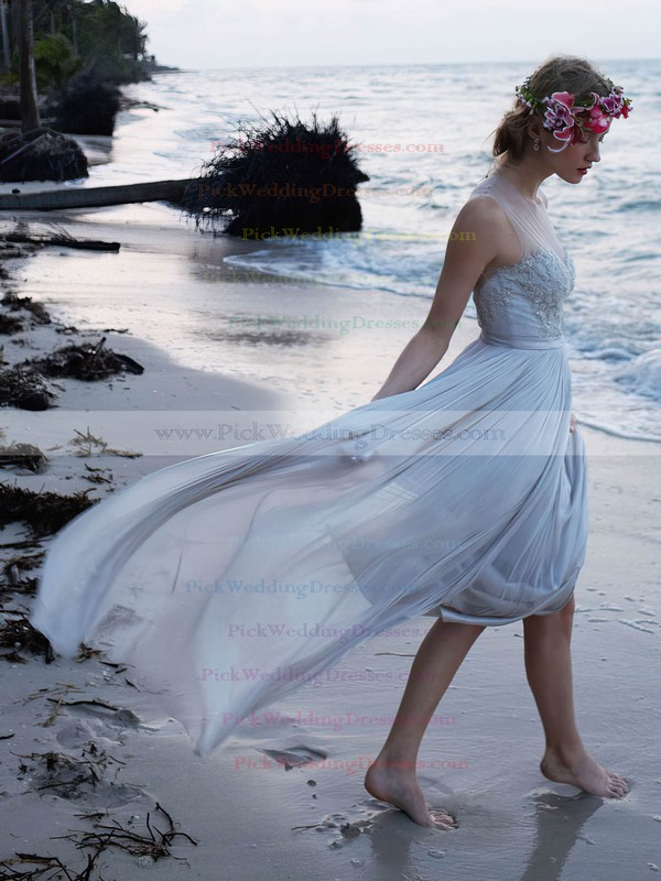 Modern A-line Scoop Neck Tulle Chiffon with Appliques Lace Floor-length Wedding Dresses #PWD00022739