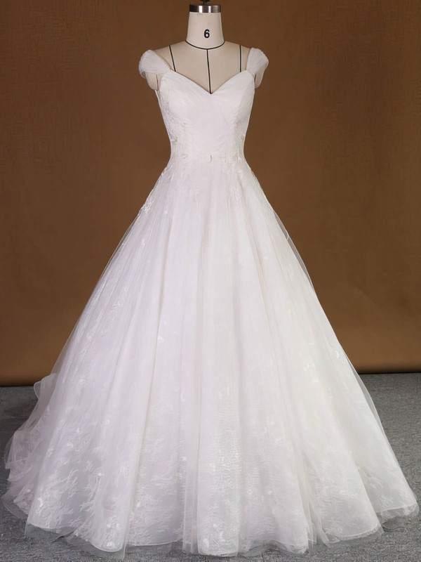Original V-neck Lace Tulle with Appliques Lace Court Train Princess Wedding Dresses #PWD00022740