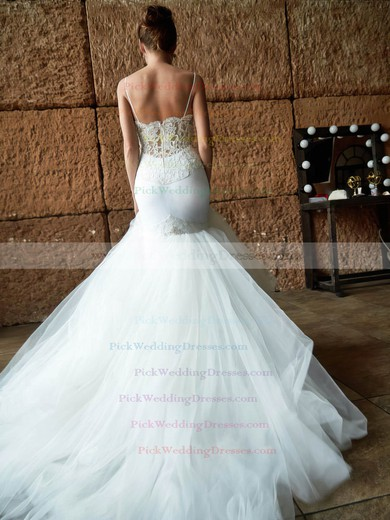 Sexy Sweetheart Tulle with Lace Court Train Spaghetti Straps Trumpet/Mermaid Wedding Dresses #PWD00022741