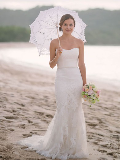 Modest Trumpet/Mermaid Sweetheart Tulle with Appliques Lace Sweep Train Wedding Dresses #PWD00022742