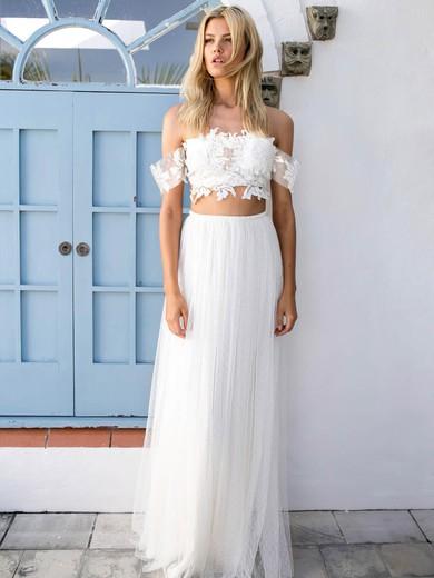 Off-the-shoulder A-line Tulle Appliques Lace Floor-length Unique Two Piece Wedding Dresses #PWD00022743
