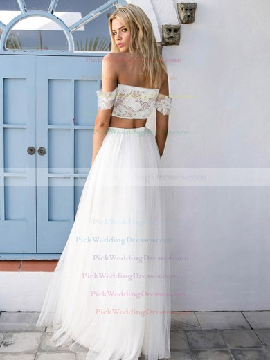 Off-the-shoulder A-line Tulle Appliques Lace Floor-length Unique Two Piece Wedding Dresses #PWD00022743