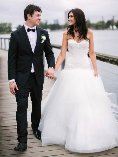Fashion Sweetheart Tulle with Lace Court Train Trumpet/Mermaid Wedding Dresses #PWD00022744