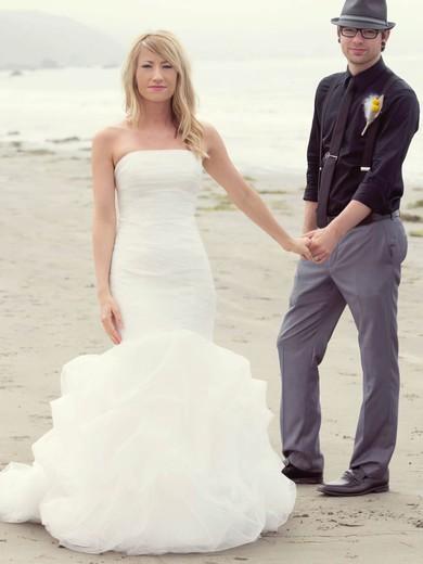 Trendy Strapless Tulle Cascading Ruffles Sweep Train Trumpet/Mermaid Wedding Dresses #PWD00022745