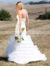 Trendy Strapless Tulle Cascading Ruffles Sweep Train Trumpet/Mermaid Wedding Dresses #PWD00022745