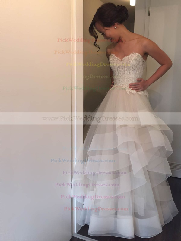 Princess Sweetheart Organza Tulle Appliques Lace Court Train Popular Backless Wedding Dresses #PWD00022746