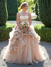 Glamorous Sweetheart Tulle Cascading Ruffles Court Train Princess Wedding Dresses #PWD00022747