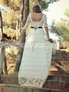 A-line Scoop Neck Lace Sashes / Ribbons Sweep Train Fashion 1/2 Sleeve Wedding Dresses #PWD00022748