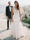 Graceful A-line V-neck Lace Chiffon with Ruffles Floor-length Backless Wedding Dresses #PWD00022749