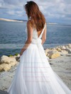 Simple A-line Tulle with Ruffles Sweep Train V-neck Backless Wedding Dresses #PWD00022750