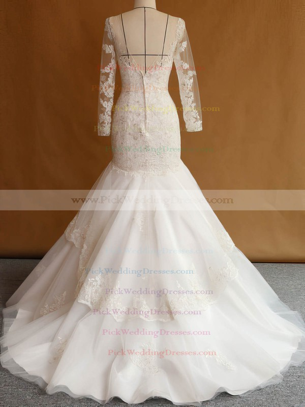 Trumpet/Mermaid Scoop Neck Tulle Appliques Lace Sweep Train Custom Long Sleeve Wedding Dresses #PWD00022751