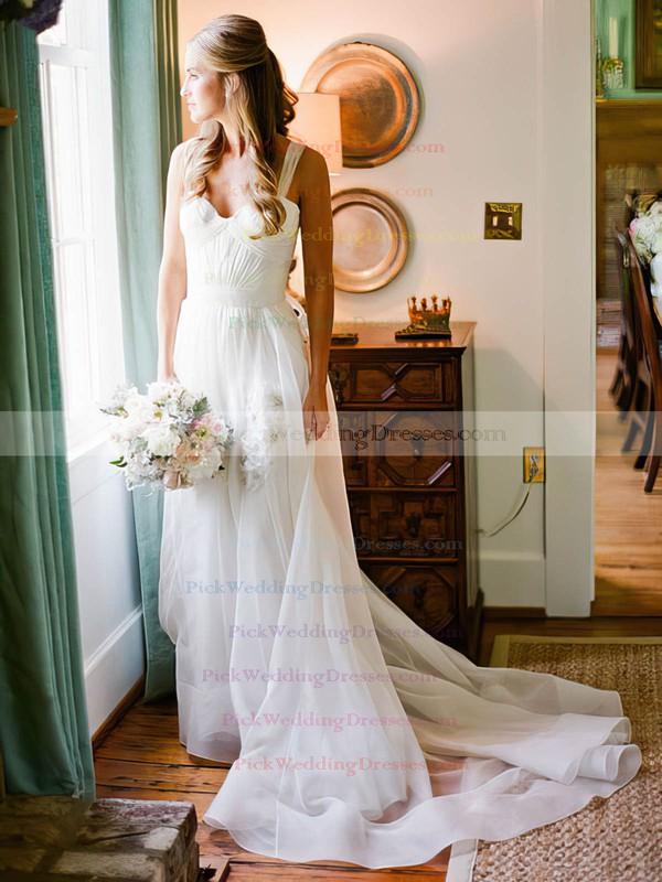 Beautiful A-line Sweetheart Chiffon with Ruffles Sweep Train Wedding Dresses #PWD00022752