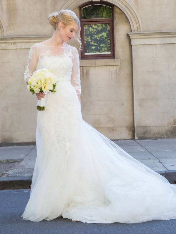 Elegant Scoop Neck Tulle Appliques Lace Court Train Trumpet/Mermaid 3/4 Sleeve Wedding Dresses #PWD00022754