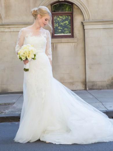 Elegant Scoop Neck Tulle Appliques Lace Court Train Trumpet/Mermaid 3/4 Sleeve Wedding Dresses #PWD00022754