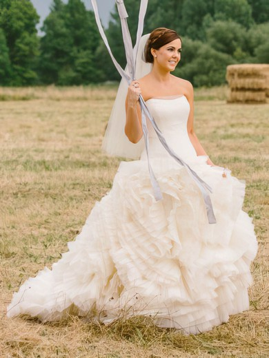 Amazing Princess Tulle with Cascading Ruffles Court Train Strapless Wedding Dresses #PWD00022755