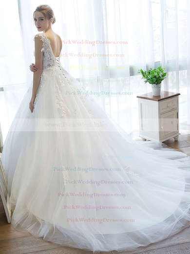Fabulous Ball Gown V-neck Tulle with Appliques Lace Court Train Backless Wedding Dresses #PWD00022757