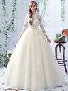 Open Back Ball Gown Scalloped Neck Tulle Appliques Lace Floor-length 3/4 Sleeve Sweet Wedding Dresses #PWD00022758
