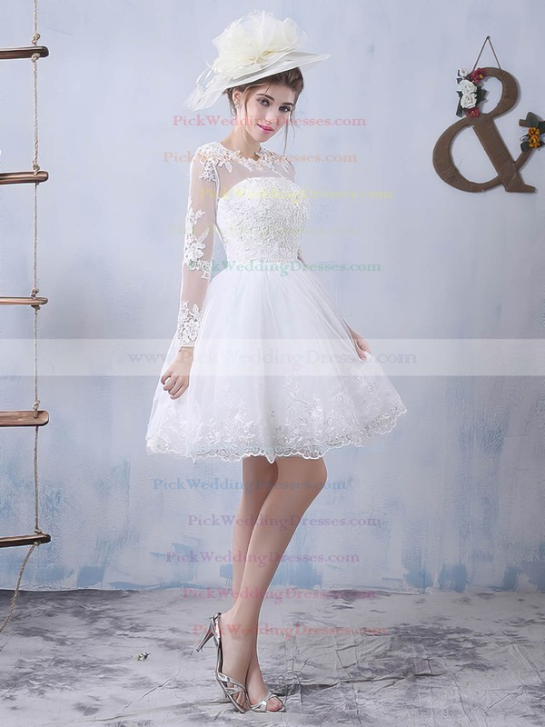 Pretty Short/Mini A-line Scoop Neck Tulle Appliques Lace Long Sleeve Wedding Dresses #PWD00022759