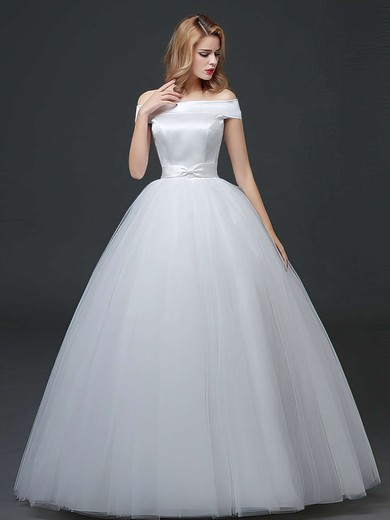 Elegant Ball Gown Satin Tulle Sashes / Ribbons Floor-length Lace-up Off-the-shoulder Wedding Dresses #PWD00022760