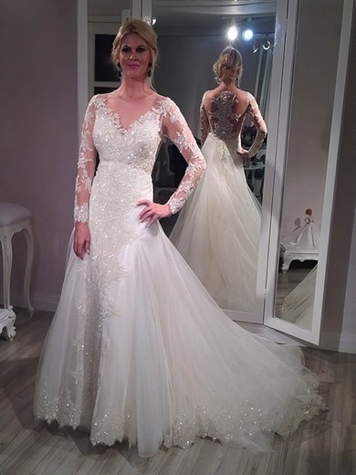 A-line Scoop Neck Tulle Appliques Lace Court Train Sparkly Long Sleeve Wedding Dresses #PWD00022761