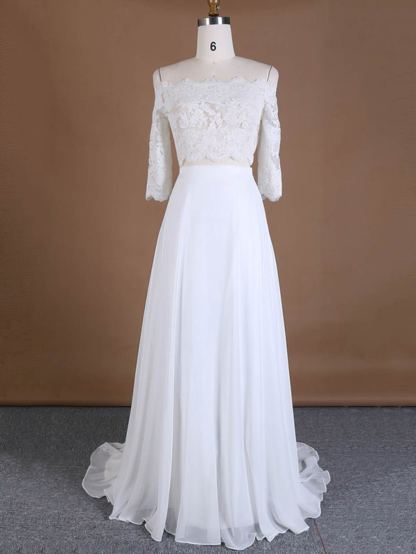 Custom Off-the-shoulder A-line Chiffon Tulle Appliques Lace Sweep Train 3/4 Sleeve Two Piece Wedding Dresses #PWD00022762