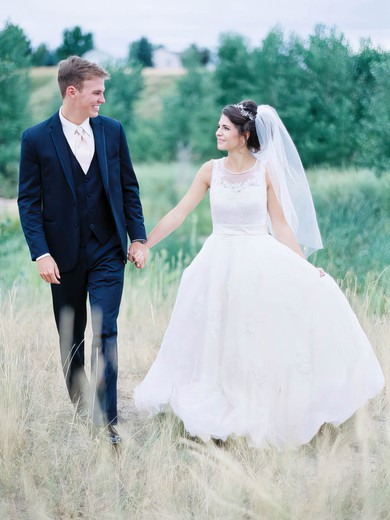 Beautiful A-line Scoop Neck Tulle with Appliques Lace Court Train Wedding Dresses #PWD00022763