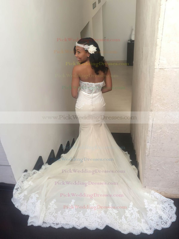 Sexy Sweetheart Tulle with Appliques Lace Court Train Trumpet/Mermaid Wedding Dresses #PWD00022764