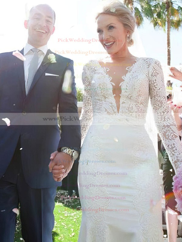 Backless Trumpet/Mermaid Scoop Neck Lace Chiffon Appliques Lace Sweep Train Long Sleeve Fashion Wedding Dresses #PWD00022766