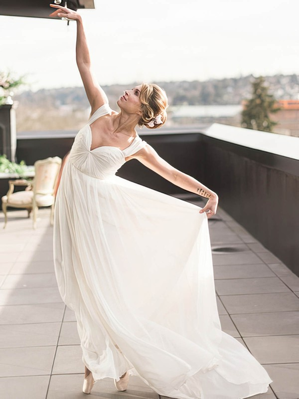 A-line Chiffon Ruffles Floor-length Backless Different Off-the-shoulder Wedding Dresses #PWD00022768