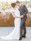 Graceful Scoop Neck Lace with Sashes / Ribbons Sweep Train Trumpet/Mermaid Wedding Dresses #PWD00022770