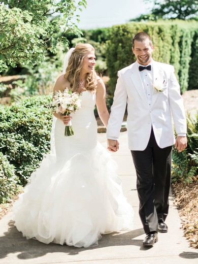Popular Sweetheart Organza Cascading Ruffles Sweep Train Trumpet/Mermaid Wedding Dresses #PWD00022771