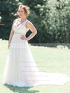 A-line V-neck Tulle with Beading Sweep Train Fabulous Open Back Wedding Dresses #PWD00022772
