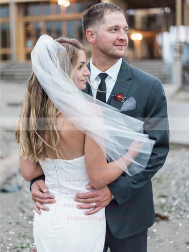 Simple Sweetheart Satin with Ruffles Sweep Train Trumpet/Mermaid Wedding Dresses #PWD00022774