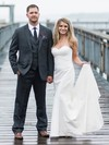 Simple Sweetheart Satin with Ruffles Sweep Train Trumpet/Mermaid Wedding Dresses #PWD00022774