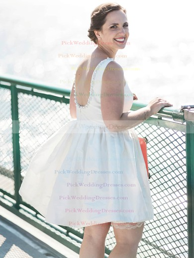 Short/Mini A-line Scoop Neck Satin with Beading Backless Inexpensive Wedding Dresses #PWD00022776