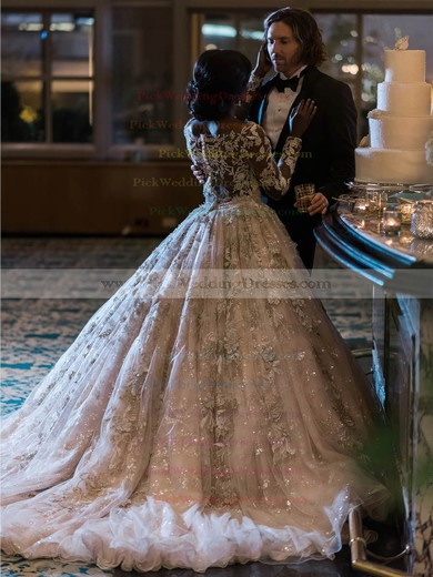 Princess Scoop Neck Tulle with Beading Court Train Stunning Long Sleeve Wedding Dresses #PWD00022778