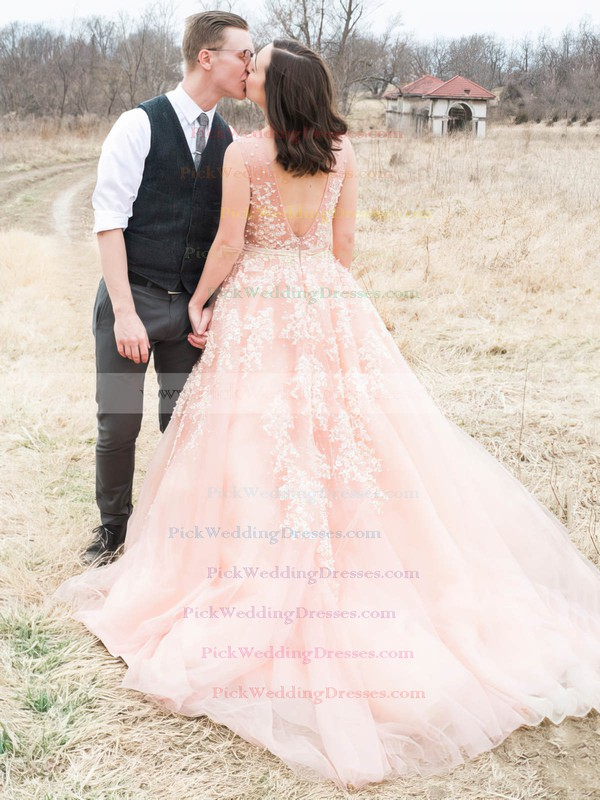 Backless A-line V-neck Tulle with Beading Court Train Amazing Wedding Dresses #PWD00022779