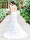 Trumpet/Mermaid V-neck Backless Tulle Appliques Lace Sweep Train Classy Wedding Dresses #PWD00022781