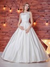 Noble Scoop Neck Satin Lace with Sashes / Ribbons Floor-length Ball Gown Wedding Dresses #PWD00022784