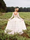 Off-the-shoulder A-line Chiffon Tulle Appliques Lace Court Train Long Sleeve Backless Famous Wedding Dresses #PWD00022785