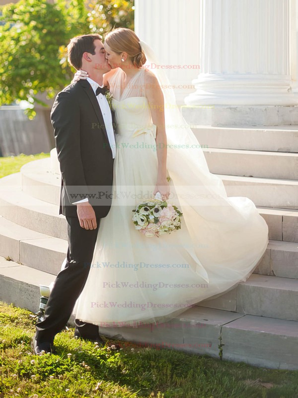 Elegant Princess Tulle with Sashes / Ribbons Sweep Train Halter Wedding Dresses #PWD00022786
