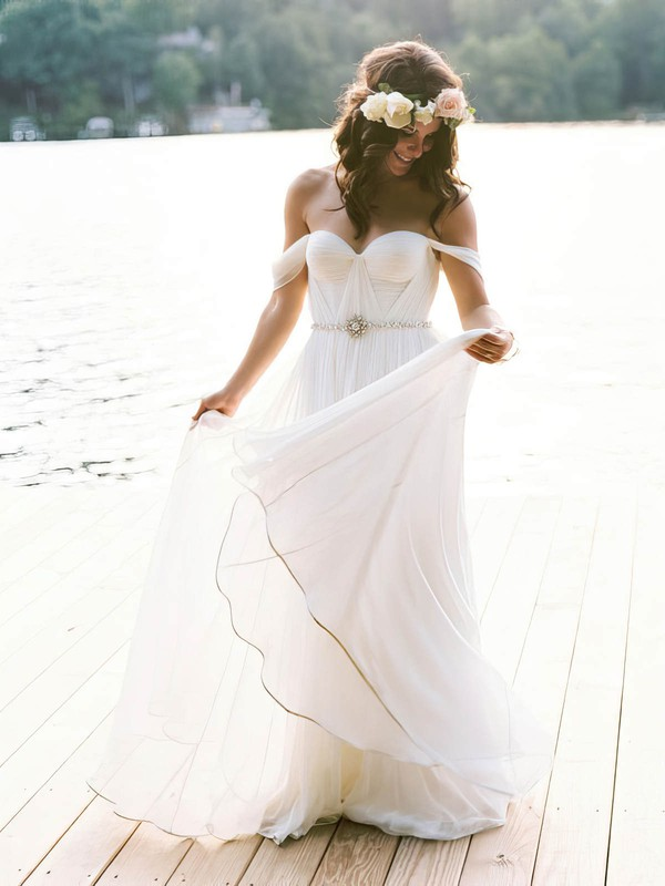 Newest Off-the-shoulder A-line Chiffon Sashes / Ribbons Floor-length Backless Wedding Dresses #PWD00022791