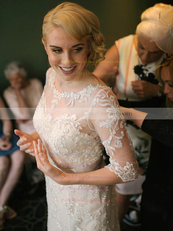 Scoop Neck Sheath/Column Tulle Appliques Lace Sweep Train 1/2 Sleeve Fashion Wedding Dresses #PWD00022793