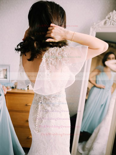 Amazing Trumpet/Mermaid Tulle with Beading Sweep Train V-neck Backless Wedding Dresses #PWD00022794