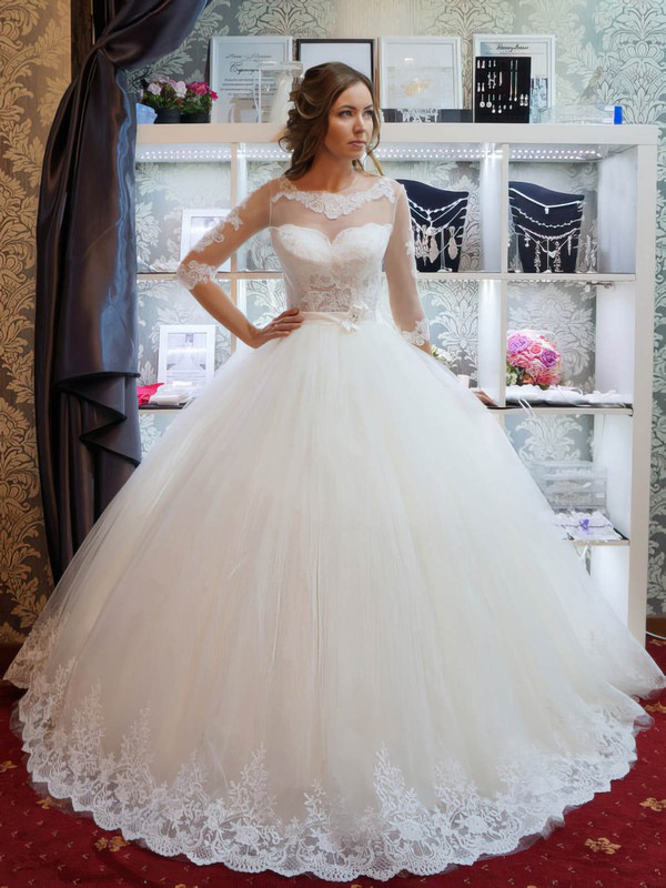 Graceful Scoop Neck Tulle Appliques Lace Floor-length Ball Gown 1/2 Sleeve Wedding Dresses #PWD00022795
