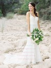 Trumpet/Mermaid V-neck Lace with Ruffles Sweep Train Backless Elegant Wedding Dresses #PWD00022797