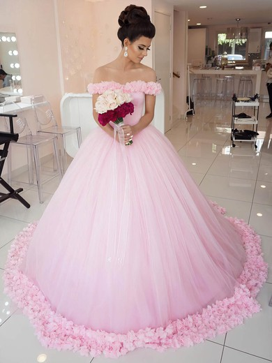 Glamorous Ball Gown Off-the-shoulder Pink Tulle Appliques Lace Court Train Wedding Dresses #PWD00022798